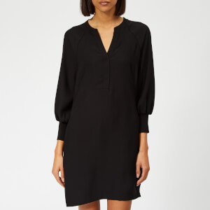 Whistles Women's Zeta Ribbed Cuff Crepe Dress - Black