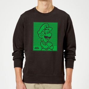 Nintendo Super Mario Luigi Retro Line Art Sweatshirt - Black