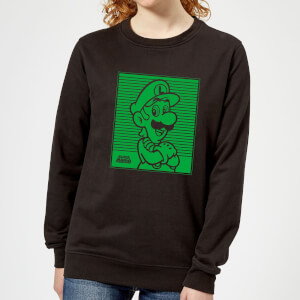 Nintendo Super Mario Luigi Retro Line Art Women's Sweatshirt - Black
