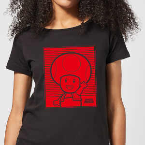 Nintendo Super Mario Toad Retro Line Art Women's T-Shirt - Black
