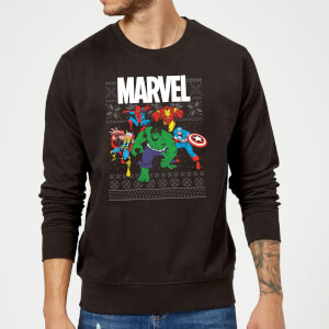 Marvel Avengers Group Christmas Sweatshirt - Black