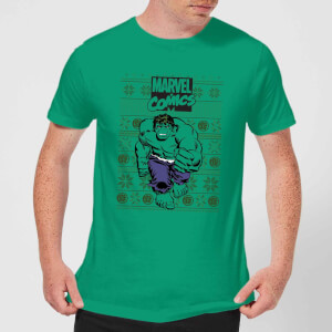 Marvel Avengers Hulk Men's Christmas T-Shirt - Kelly Green