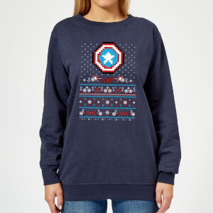 Marvel Avengers Captain America Pixel Art Women's Christmas Sweatshirt - Navy