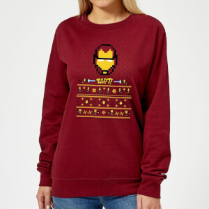 Marvel Avengers Iron Man Pixel Art Women's Christmas Sweatshirt - Burgundy