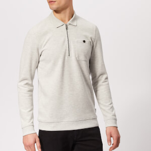 Ted Baker Men's Distres Quarter Zip Sweatshirt - Natural