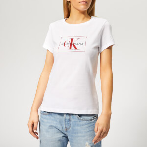 Calvin Klein Jeans Women's Outline Monogram Slim Fit T-Shirt - Bright White/Racing Red