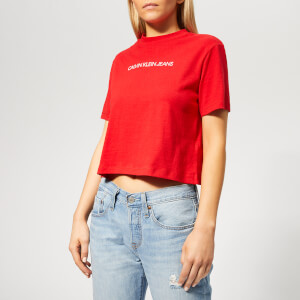 Calvin Klein Jeans Women's Shrunken Institutional Crop Top - Racing Red