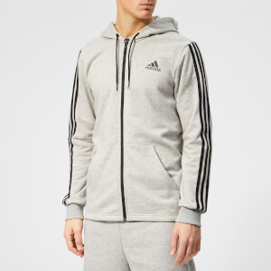 adidas Men's Must Haves 3 Stripe Full Zip Hoody - Grey Heather