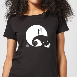 Nightmare Before Christmas Jack and Sally Moon Women's T-Shirt - Black
