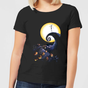 Nightmare Before Christmas Jack Skellington Pumpkin King Colour Women's T-Shirt - Black