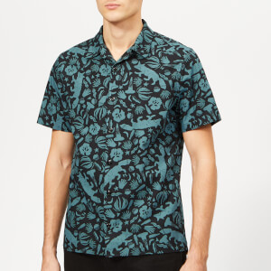 PS Paul Smith Men's Casual Fit Short Sleeve Shirt - Blue