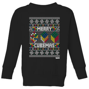 Rubiks Merry Cubemas Kids Christmas Sweatshirt - Black