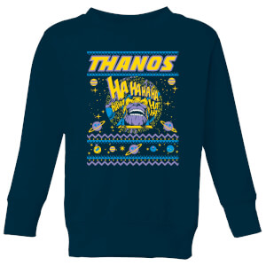 Thanos Christmas Knit Kids Christmas Sweatshirt - Navy