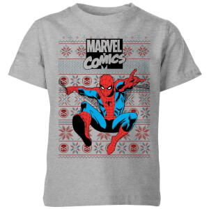 Marvel Avengers Classic Spider-Man Kids Christmas T-Shirt - Grey