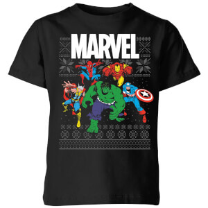 Marvel Avengers Group Kids Christmas T-Shirt - Black
