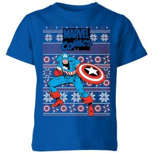 Marvel Avengers Captain America Kids Christmas T-Shirt - Royal Blue