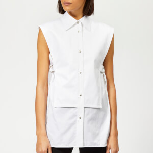 Helmut Lang Women's Sleeveless Bib Shirt - White Satin