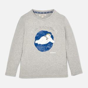 Barbour Girls' Elanor Long Sleeve Snowman T-Shirt - Light Grey Marl