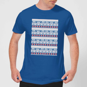 Star Wars AT-AT Pattern Men's Christmas T-Shirt - Royal Blue
