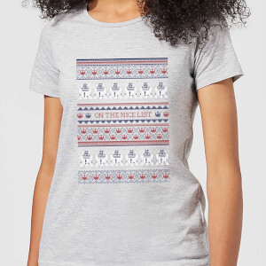 Star Wars On The Nice List Pattern Women's Christmas T-Shirt - Grey