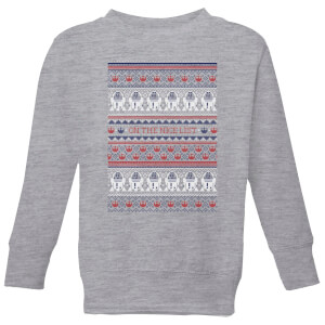 Star Wars On The Nice List Pattern Kids Christmas Sweatshirt - Grey