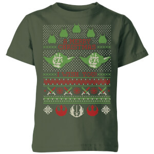 Star Wars Merry Christmas I Wish You Knit Kids Christmas T-Shirt - Forest Green
