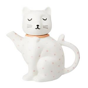 Sass & Belle Cutie Cat Pink Polka Dot Hearts Teapot