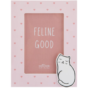 Sass & Belle Cutie Cat Pink Hearts Photo Frame