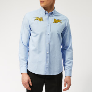 KENZO Men's Jumping Tiger Oxford Shirt - Light Blue
