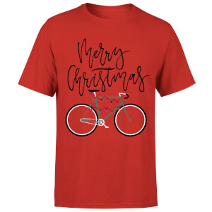 Bike Lights Men's Christmas T-Shirt - Red