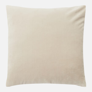 in homeware Feather Filled Velvet Cushion - Natural