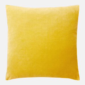 in homeware Feather Filled Velvet Cushion - Yellow