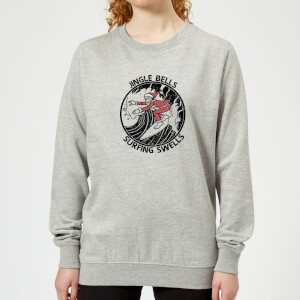 Jungle Bells, Surfing Swells Women's Christmas Sweatshirt - Grey