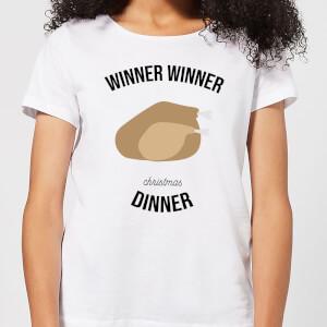 T-Shirt de Noël Femme Winner Winner Dinner - Blanc