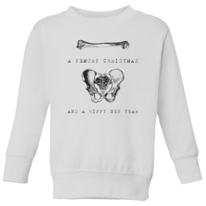 A Femury Christmas and A Hippy New Year Kids' Christmas Sweatshirt - White