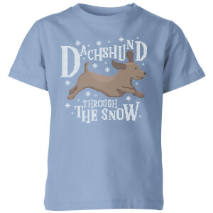 Dachshund Through The Snow Kids' Christmas T-Shirt - Sky Blue