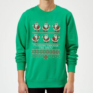 Flossing Through The Snow Sweatshirt - Kelly Green
