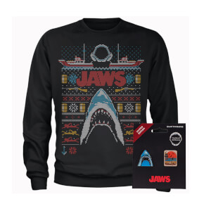 Jaws Fairisle Men's Christmas Sweatshirt and Pin Badge Bundle