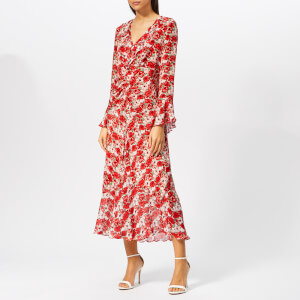 RIXO Women's Coleen Diana Floral Dress - Red