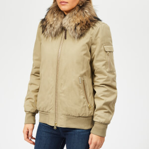 Woolrich Women's Silverdale Short Bomber Jacket with Fur Collar - Natural