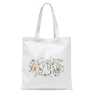 A Little Cloth Rabbit All Good Things Are Wild and Free Tote Bag - White