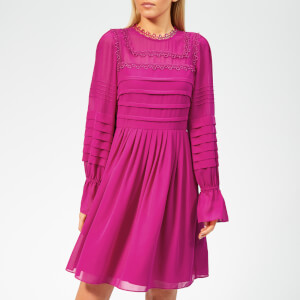 Ted Baker Women's Arrebel Lace Trim Volume Sleeve Dress - Bright-Pink