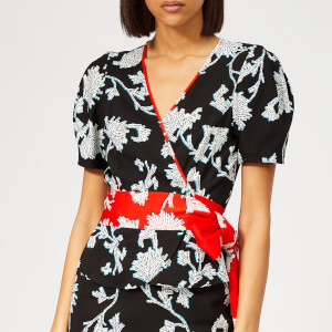 Diane von Furstenberg Women's Alexia Flower Top - Sequin Flower Black