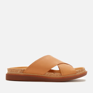 Clarks Women's Trace Drift Leather Cross Front Sandals - Light Tan