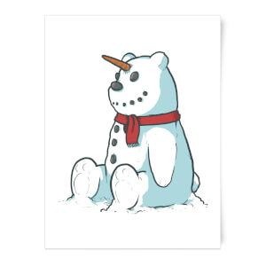 Unicorn Snowman Art Print