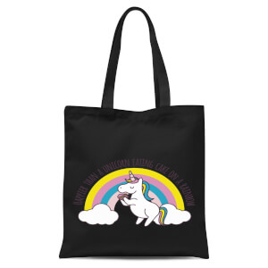 Happier Than A Unicorn Eating Cake Tote Bag - Black