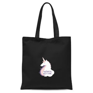 Unicorns Are Real Tote Bag - Black
