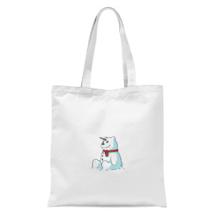 Unicorn Snowman Tote Bag - White