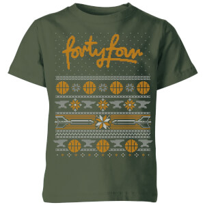 How Ridiculous Forty Four Knit Kids' Christmas T-Shirt - Forest Green