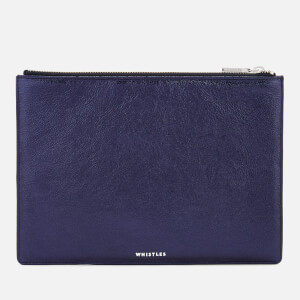 Whistles Women's Metallic Medium Clutch Bag - Navy